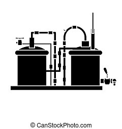 black beer tanks icon image design, vector illustration