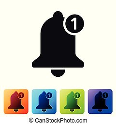 Black Bell icon isolated on white background. New Notification icon. New message icon. Set icon in color square buttons. Vector Illustration