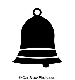 Black bell with stripes on a white background. Icon.