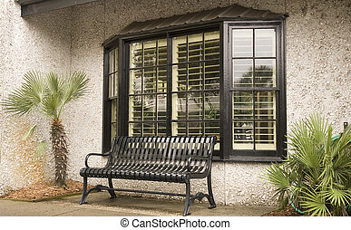 Black Bench in Store Window