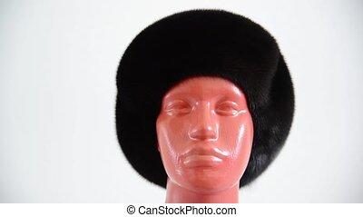 black beret from natural mink on mannequin - black beret...