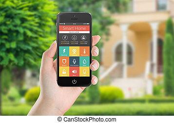 black , beweeglijk, smart, telefoon, met, smart, thuis, toepassing, iconen, op, th