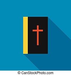 Black bible book icon, flat style