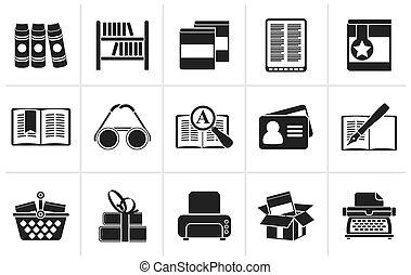 black , bibliotheek, en, boekjes , iconen