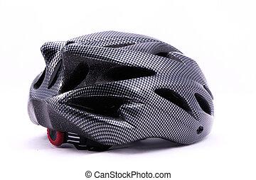 Black bicycle helmet on white background