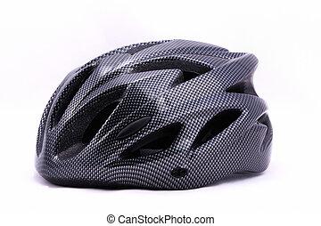 Black bicycle helmet on white background.