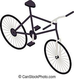 Black bicycle icon, isometric style
