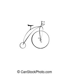 Black Bicycle Isolated on a White Background