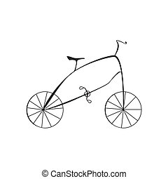 Black Bicycle Isolated on White Background Vector Illustration