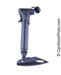 black bicycle pump on a white background