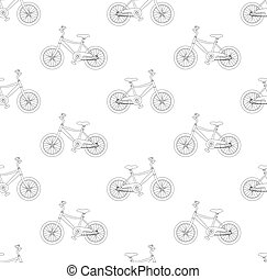 Black Bicycle Seamless on White Background