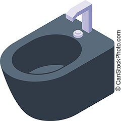Black bidet icon, isometric style - Black bidet icon. ...
