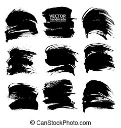Black big abstract strokes isolated