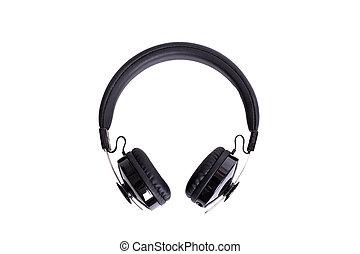 Black big headphones isolated on white background