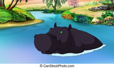 Black Big Hippopotamus Open his Mouth - Cartoon Black Big...