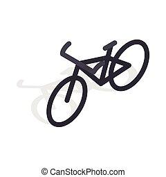 Black bike icon, isometric 3d style