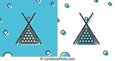 Black Billiard cue and balls in a rack triangle icon isolated on blue and white background. Random dynamic shapes. Vector Illustration