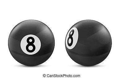 Black billiard eight ball isolated on white