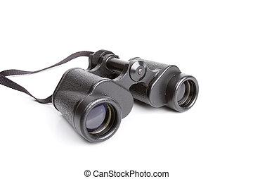 Black binoculars isolated on white