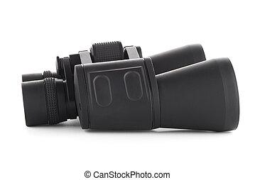 Black binoculars isolated on white background.