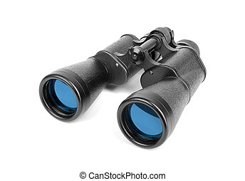 Black binoculars isolated on white.