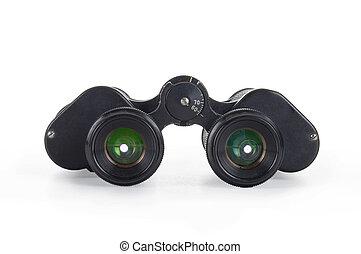 Black binoculars isolated over white background