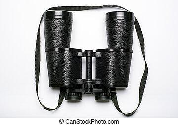 black binoculars on a white background