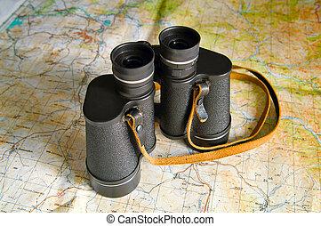 binoculars on map
