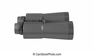 Black binoculars on white background