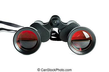 black binoculars - Pair of black binoculars with red /...