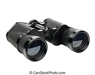 black binoculars perspective view isolated on white background