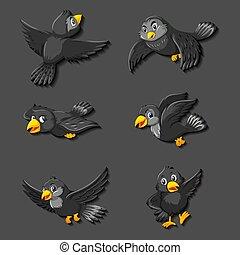 Black bird cartoon character illustration