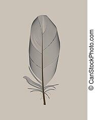Black Bird Feather Drawn in Vector Illustration. EPS10