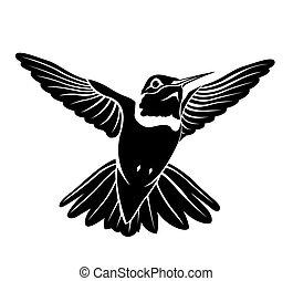 black bird hummingbird on a white b - The figure shows a...