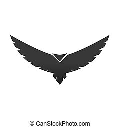 Black bird icon. Flying abstract condor with expanded wings. Vector isolated on white