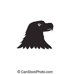 black bird logo, black eagle head silhouette isolated on white background
