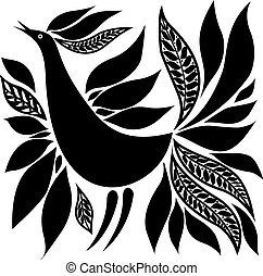 bird silhouette folk ornament - black bird silhouette folk...