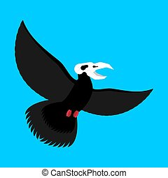 Black bird with skull. Crow of death. Vector illustration