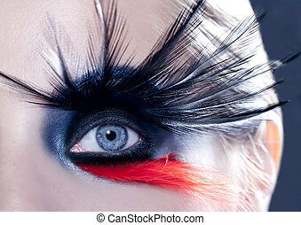 black bird woman eye makeup macro