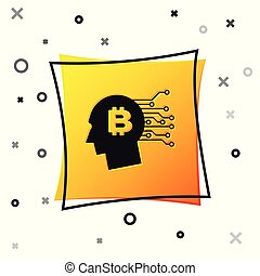 Black Bitcoin think icon isolated on white background. Cryptocurrency head. Blockchain technology, bitcoin, digital money market, cryptocoin wallet. Yellow square button. Vector Illustration