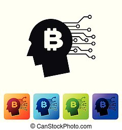 Black Bitcoin think icon on white background. Cryptocurrency head. Blockchain technology, bitcoin, digital money market, cryptocoin wallet. Set icon in color square buttons. Vector Illustration