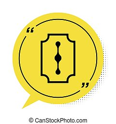 Black Blade razor icon isolated on white background. Yellow speech bubble symbol. Vector Illustration
