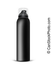 Black blank aluminum spray can isolated