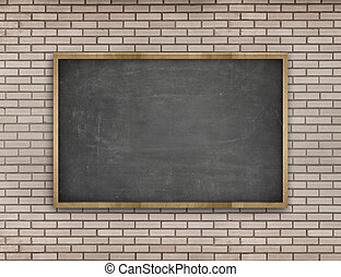 Black blank blackboard with wooden frame on brick wall background