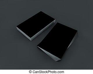 3d blank black business cards black blank business cards mokup for branding 3d render reheart Images