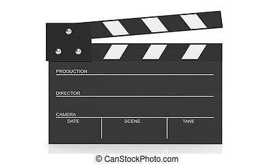 Black blank clapperboard isolated on white background