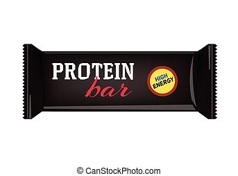 Black Blank Food Packaging For Biscuit, Wafer, Crackers, Sweets, Chocolate Bar, Candy Bar, Snacks . Protein Bar Design Template. Isolated On White Background. Package Mock-up.