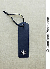 Black blank gift tag with snowflake