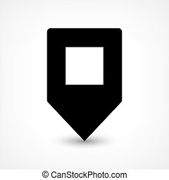 Black blank map pin flat location sign square icon
