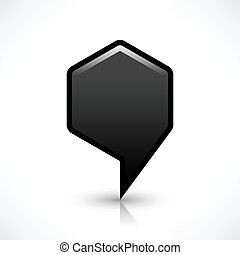 Black blank map pin sign hexagon location icon